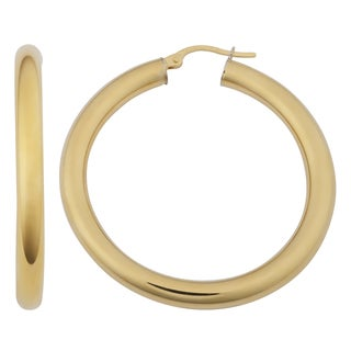 Fremada 18k Yellow Gold Italian 3x25-mm High Polish Hoop Earrings
