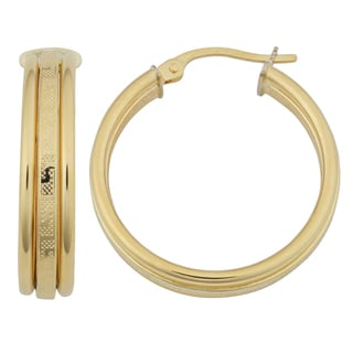 Fremada 18k Yellow Gold 20mm Greek Key Triple Hoop Earrings
