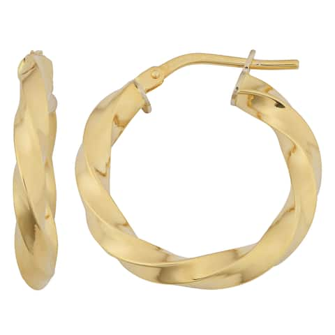 Fremada 18k Yellow Gold Italian 3x15-mm Twisted Hoop Earrings