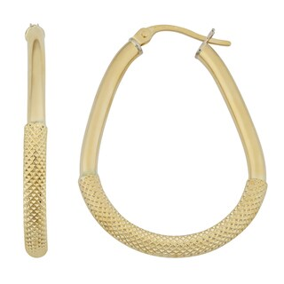 Fremada 18k Yellow Gold Italian 3x25-mm Polished and Textured Pear-shaped Hoop Earrings