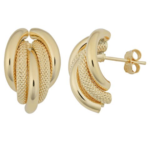 Fremada 18k Yellow Gold Italian Polished and Textured Finished Half Hoop Earrings