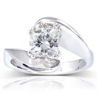 Annello by Kobelli 14k White Gold 1 1/10ct Cushion Moissanite Wide Bypass Style Solitaire Unique Engagement Ring