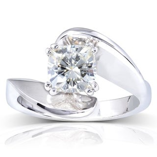 Annello by Kobelli 14k White Gold 1 1/10ct Cushion Moissanite (HI) Wide Bypass Style Solitaire Unique Engagement Ring