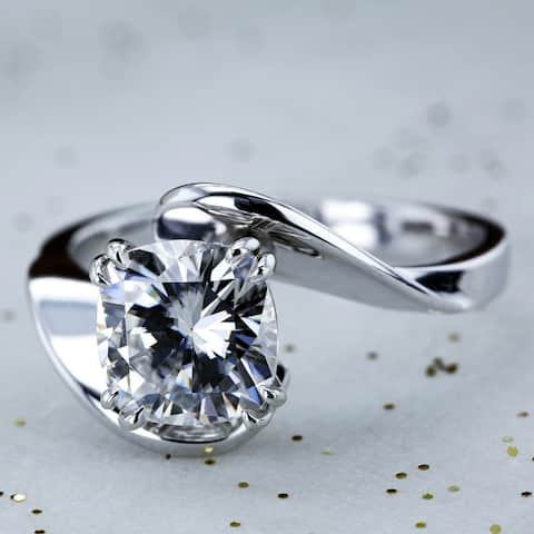Annello by Kobelli 14k White Gold 2ct Cushion Moissanite Wide Bypass Style Solitaire Unique Engagement Ring