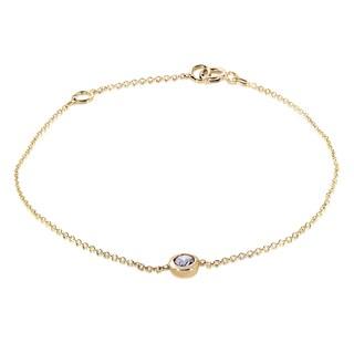 Annello by Kobelli 14k Yellow Gold 1/4ct Diamond Solitaire Bezel Bracelet (H-I, I1-I2)