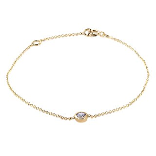 Annello by Kobelli 14k Yellow Gold 1/4ct Diamond Solitaire Bezel Bracelet