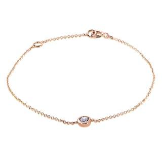 Annello 14k Rose Gold 1/4ct Diamond Solitaire Bezel Bracelet (H-I, I1-I2)