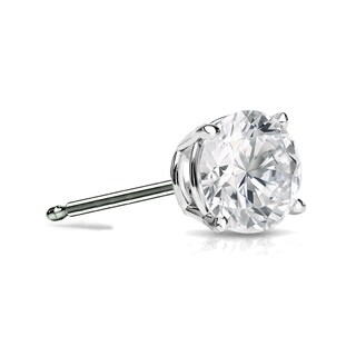 Auriya 14k Gold 1/4ct TDW 4-Prong Push-Back Round Diamond Single-Stud Earring (H-I, SI1-SI2)