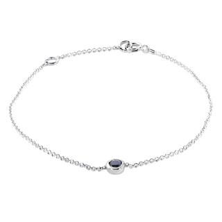 Annello by Kobelli 14k White Gold 1/4ct Black Diamond Solitaire Bezel Bracelet