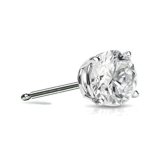Auriya 14k Gold 1/4ct TDW 4-Prong Push-Back Round Diamond Single Stud Earring (I-J, SI2-SI3)