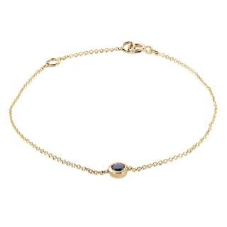 Annello by Kobelli 14k Yellow Gold 1/4ct Black Diamond Solitaire Bezel Bracelet