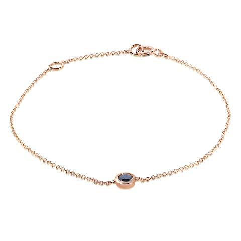 Annello by Kobelli 14k Rose Gold 1/4ct Black Diamond Solitaire Bezel Bracelet