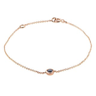 Annello by Kobelli 14k Rose Gold 1/4ct Black Diamond Solitaire Bezel Bracelet
