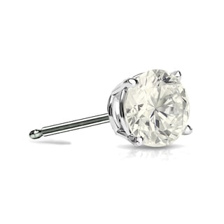 Auriya 14k Gold 1/4ct TDW 4-Prong Push-Back Round Diamond Single Stud Earring (J-K, I2-I3)