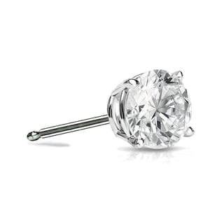Auriya 14k Gold 1/2ct TDW 4-Prong Push-Back Round Diamond Single Stud Earring (I-J, SI2-SI3)