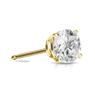 Auriya 14k Gold 1/3ct TDW 4-Prong Push-Back Round Diamond Single Stud Earring (I-J, SI2-SI3)