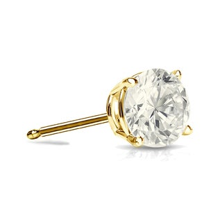 Auriya 14k Gold 1/3ct TDW 4-Prong Push-Back Round Diamond Single Stud Earring (J-K, I2-I3)