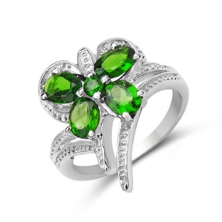 Malaika 1.68 Carat Genuine Chrome Diopside .925 Sterling Silver Ring