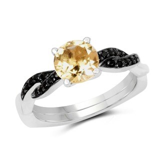 Malaika 1.55 Carat Genuine Citrine and Black Spinel .925 Sterling Silver Ring