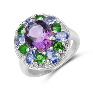 Malaika 3.95 Carat Genuine Amethyst, Tanzanite and Chrome Diopside .925 Sterling Silver Ring