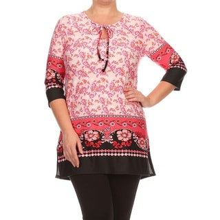 MOA Collection Women's Plus Size 3/4 Sleeve Tapestry Top