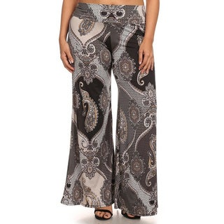 MOA Collection Women's Plus Paisley Print Pants