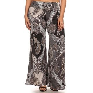MOA Collection Women's Plus Paisley Print Pants
