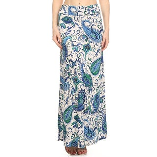 MOA Collection Women's Blue Paisley Maxi Skirt