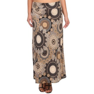 MOA Collection Plus Size Floral Medallion Maxi Skirt