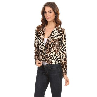 MOA Collection Women's Animal Print Blazer
