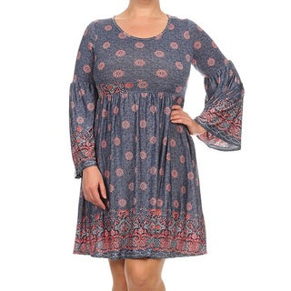 MOA Collection Plus Size Women's Long Sleeve Floral Dress
