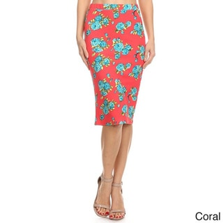 MOA Collection Women's Floral Midi Pencil Skirt