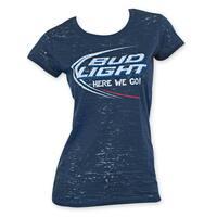 Bud Light Women's Navy Blue Burnout Tee Shirt