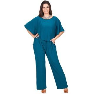 KOH KOH Women's Plus Size Short Sleeve Slimming Evening Jumpsuit
