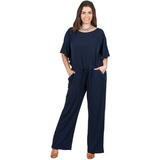 KOH KOH Women's Plus Size Short Sleeve Slimming Evening Jumpsuit