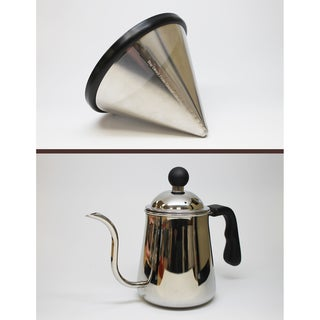 Washable and Reusable Stainless Steel Cone Coffee Filter Fits Hario V60 02 and 03 Coffee Drippers and Pour Over Kettle
