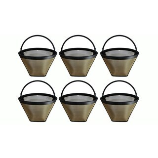 6 Washable Gold Tone #4 Cone Coffee Filters, Part # GTF