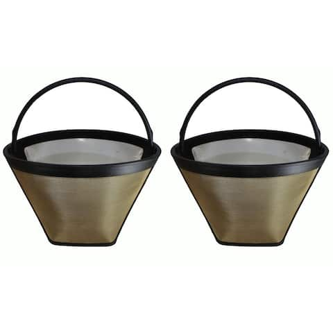 2pk Replacement #4 Gold Tone Coffee Filter, Fits Cuisinart, Braun, GE, Jerdon, Krups, Melitta & More, Washable & Reusable
