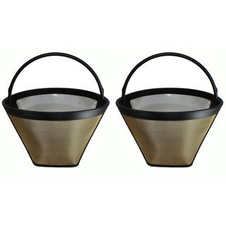 2 Washable Gold Tone #4 Cone Coffee Filters, Part # GTF