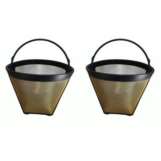 2pk Replacement #4 Gold Tone Coffee Filters, Fits Cuisinart Coffee Makers, Washable & Reusable