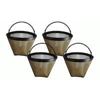 4pk Replacement Gold Tone Coffee Filters, Fits Cuisinart, Washable & Reusable, Compatible with Part GTF4