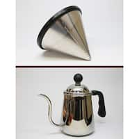 Goosneck Kettle & Think Crucial Reusable Stainless Steel Cone Coffee Filter Kit Fits Chemex®-Brand 6, 8 & 10 Cup Coffee Makers
