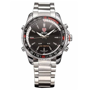Shark Sport Watch Black/ Silver Stainless Steel Band Quartz Watch with Alarm Function and LED Date Display