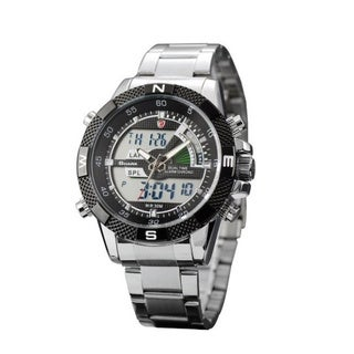 Shark Sport Watch Black Stainless Steel Band Quartz Watch with Alarm Function