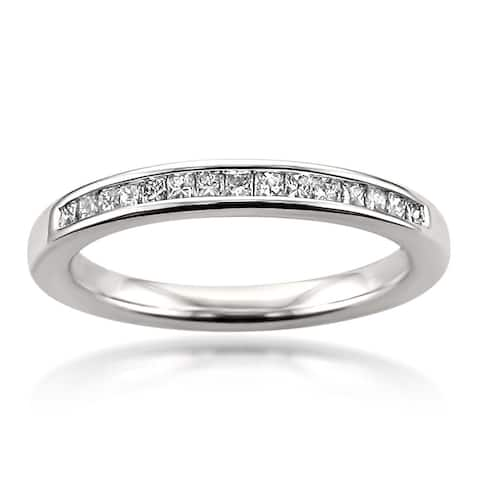 Montebello 14KT White Gold 1/4ct Princess-cut Certified Diamond Wedding Band