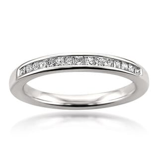 Montebello 14k White Gold 1/4ct Certified Princess-cut White Diamond Wedding Band (G-H, SI3-I1)