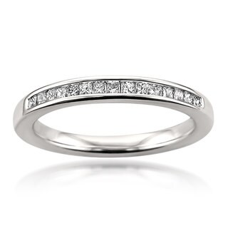 Montebello 14k White Gold 1/4ct Certified Princess-cut White Diamond Wedding Band
