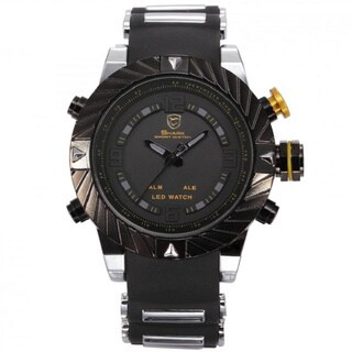 Shark Sport Watch Black Alloy/ Silicone Band Buckle with Yellow Crown Multifunction Watch