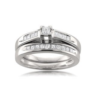 Montebello 14k White Gold 1/2ct TDW Certified Princess-cut Diamond Bridal Ring Set H-I, I1-I2)