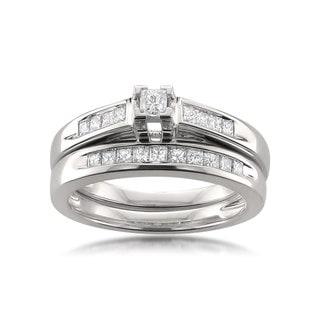 Montebello 14k White Gold 1/2ct TDW Certified Princess-cut Diamond Bridal Ring Set H-I, I1-I2)